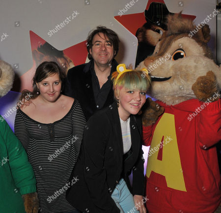 Stock Picture of Uk Premiere of 'Alvin and the Chipmunks 2 - the Squeakquel' at the Empire Leicester Square Jonathan Ross with His Daughters Honey Kinny Ross (l) and Betty Kitten Ross (r)
