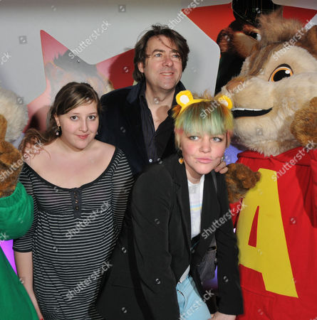 Stock Photo of Uk Premiere of 'Alvin and the Chipmunks 2 - the Squeakquel' at the Empire Leicester Square Jonathan Ross with His Daughters Honey Kinny Ross (l) and Betty Kitten Ross (r)
