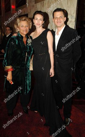 Uk Premiere of 'V For Vendetta' at the Empire Leicester Square Dame Vivien Duffield with Her Daughter in Law Natasha Wightman and Son George Duffield