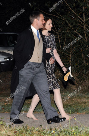 Stock Image of Afterparty Following the Wedding of Lord Freddie Windsor and Sophie Winkleman at Lady Annabel Goldsmiths Home in Ham London Earl of Ulster with His Wife Claire Booth