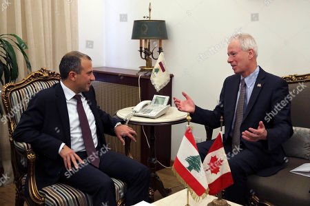 Gibran Bassil, Stephane Dion Lebanese foreign minister Gibran Bassil, left, meets with his Canadian counterpart Stephane Dion, right, at the Lebanese foreign ministry, in Beirut, Lebanon, . Dion is in Beirut to meet with Lebanese officials