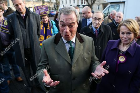 Former UKIP leader Nigel Farage out campaigning in Sleaford, Lincolnshire, with Victoria Ayling, UKIP's candidate in the Seaford and North Hykeham by-election.