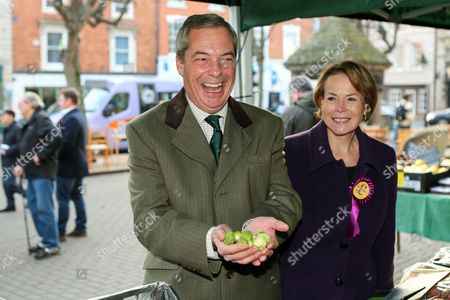 Stock Image of Former UKIP leader Nigel Farage out campaigning in Sleaford, Lincolnshire, with Victoria Ayling, UKIP's candidate in the Seaford and North Hykeham by-election.