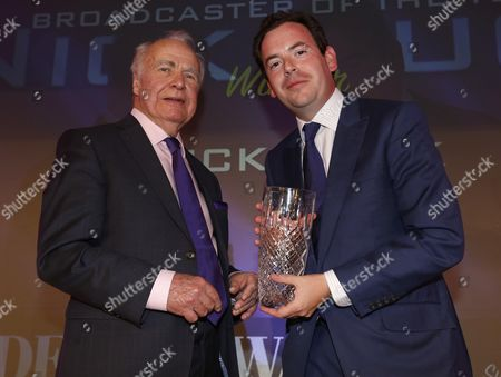 Hugh McIlvanney presenting Nick Luck with Broadcaster of the Year The Derby Awards