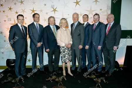 Aiden O'Brien, trainer and MV Magnier representing the owners of Minding who was the winner of Horse of the Year Award, Mouse Morris who won the Outstanding Achievement Award, Mrs Maureen Mullins who won the Contribution to Industry Award, Willie Mullins who won the National Hunt Award, Jamie Codd who won the Point-To-Point Award, and Michael Moloney and Peter Allen Galway Racecourse who won the Racecourse of the Year Award.