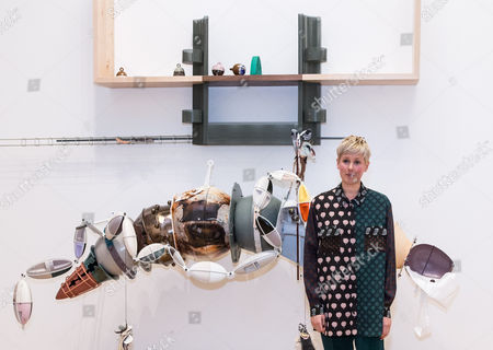 Helen Marten with her winning piece 'Brood and Bitter Pass' (2015)