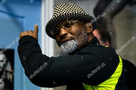Bernard Hopkins arrives in a fake beard as part of a joke for media workout in Philadelphia, . Hopkins is scheduled to fight Joe Smith Jr., in a light heavyweight boxing match on Dec. 17 at the Forum, in Inglewood, Calif