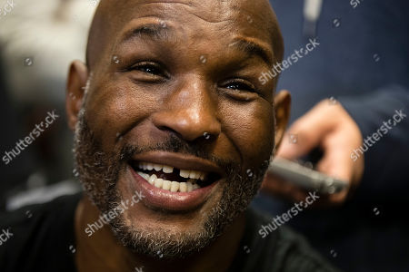 Bernard Hopkins speaks with members of the media during a media workout in Philadelphia, . Hopkins is scheduled to fight Joe Smith Jr., in a light heavyweight boxing match on Dec. 17 at the Forum, in Inglewood, Calif