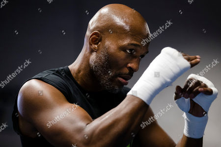 Bernard Hopkins trains during a media workout in Philadelphia, . Hopkins is scheduled to fight Joe Smith Jr., in a light heavyweight boxing match on Dec. 17 at the Forum, in Inglewood, Calif
