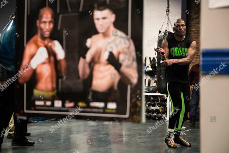 Bernard Hopkins jumps rope during a media workout in Philadelphia, . Hopkins is scheduled to fight Joe Smith Jr., in a light heavyweight boxing match on Dec. 17 at the Forum, in Inglewood, Calif