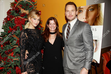 Stock Picture of Jennifer Lawrence, Jane Sarkin (VF Features Editor) and Chris Pratt