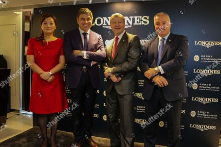 Karen Au Yeung, Juan-Carlos Capelli, Winfried Engelbrecht-Bresges and Anthony Kelly.  Longines announces the renewal of its partnership with the Hong Kong Jockey Club.
