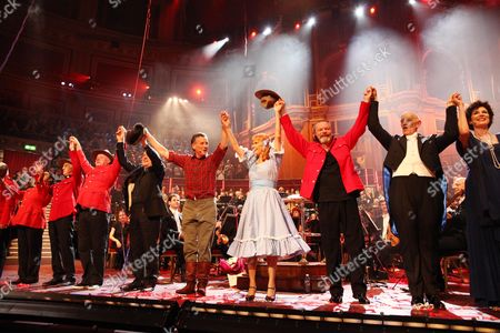 Stock Picture of 'Not the Messiah' Special Show to Celebrate the 40th Anniversary of Monty Python at the Royal Albert Hall Terry Jones Michael Palin Carol Cleveland Terry Gilliam John Du Prez and Rosalind Plowright