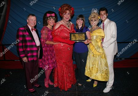 500 000th Ticket is Sold For 'Hairspray' to Kate Saunders (25 Years Old From Stoke Newington) She Collected A Framed Ticket From Michael Ball After the Curtain Call Cast - Ian Talbot Charlotte Riby Michael Ball Tracie Bennett and Ben James-ellis with Kate Saunders