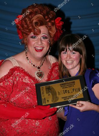 500 000th Ticket is Sold For 'Hairspray' to Kate Saunders (25 Years Old From Stoke Newington) She Collected A Framed Ticket From Michael Ball After the Curtain Call