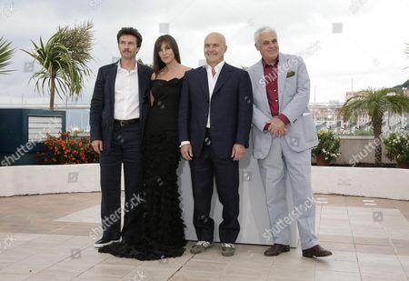 61st Cannes Film Festival - Photocall For 'Une Histoire Italienne' Alessio Boni Monica Bellucci Luca Zingaretti and Marco Tullio Giordana