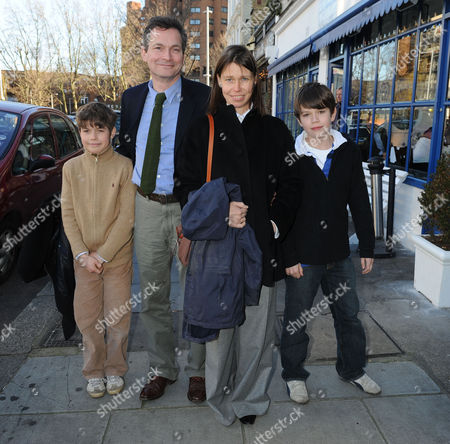 80th Birthday Lunch at La Famiglia Resturant Chelsea Lady Sarah Chatto with Her Husband Daniel Chatto and Their Sons Samuel and Arthur