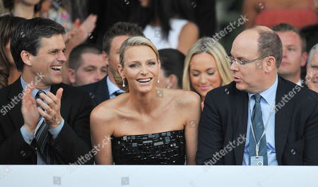 Amber Lounge Fashion Show and Auction at Le Meridien Beach Plaza Monaco Tim Shriver with Prince Albert Ii of Monaco and His Girlfriend Charlene Wittstock