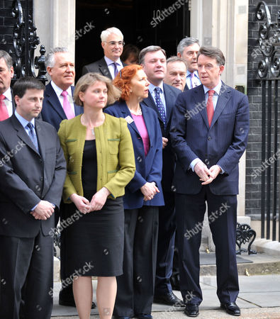 Announcement of the Date of the General Election in Downing Street Douglas Alexander Mp Peter Hain Mp Yvette Cooper Mp Baroness Royall Ed Balls Mp Nick Brown Mp and Lord Peter Mandelson