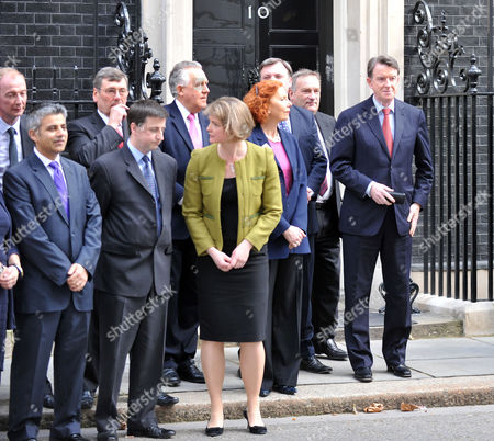Announcement of the Date of the General Election in Downing Street Jim Knight Mp Liam Byrne Mp Rosie Winterton Mp Sadiq Khan Mp Douglas Alexander Mp Yvette Cooper Mp and Lord Peter Mandelson