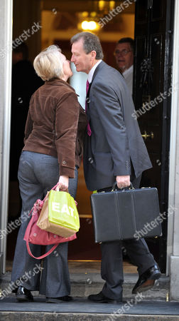Cabinet Meeting at Number 10 Downing Street Westminster Cabinet Secretary Sir Gus O'donnell Greets A Fellow Worker