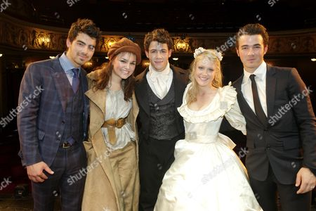 Cast Change First Night of 'Les Miserables' at the Queen's Theatre Shaftesbury Avenue Backstage After the Performance Samantha Barks (eponine) Camilla Kerslake (cosette) and Nick Jonas (marius) with His Brothers Joe Jonas and Kevin Jonas