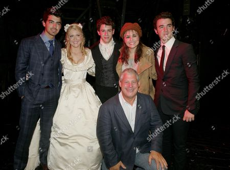 Cast Change First Night of 'Les Miserables' at the Queen's Theatre Shaftesbury Avenue Backstage After the Performance the Show's Producer Cameron Mackintosh Samantha Barks (eponine) Camilla Kerslake (cosette) and Nick Jonas (marius) with His Brothers Joe Jonas and Kevin Jonas