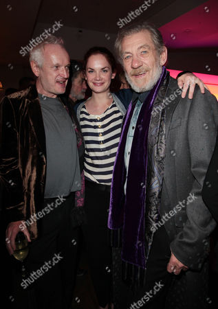 Stock Picture of Cast Change Press Night For 'Waiting For Godot' Afterparty at the Haymarket Hotel Director Sean Mathias Ruth Kelly and Sir Ian Mckellen