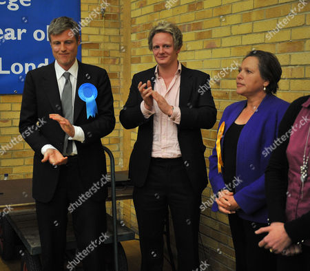 Count at Election Results at Richmond Upon Thames College From Richmond Park and Twickenham Zac Goldsmith Left Celebrates Winning the Seat For Richmond Park with His Election Agent David Newman and Lib Dem Loser Susan Kramer