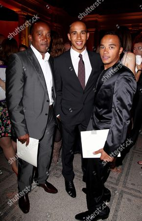 F1 Party in Aid of Great Ormond Street Hospital at the V&a Museum Anthony Hamilton with His Sons Lewis Hamilton and Nicholas Hamilton