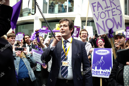 Chris Fox Speaks to Demonstrators For Fair Votes Now Outside the Work Foundation Westminster London