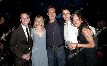 Stock Picture of First Night For 'Peter Pan' at the Neverland Pavillion Kensington Gardens David Poyner Abby Ford (wendy Darling) Jonathan Hyde (peter Pan & Mr Darling) Ciaran Kellgren (peter Pan) and Itxaso Moreno (tinkerbell)