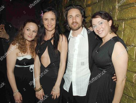Stock Picture of 1st Night Curtain Call of 'Fool For Love' at the Apollo Theatre Shaftsbury Ave & After Party at Opium in Dean Street London the Shows Producers Clare Lawrence & Anna Waterhouse with Juliette Lewis & Martin Henderson