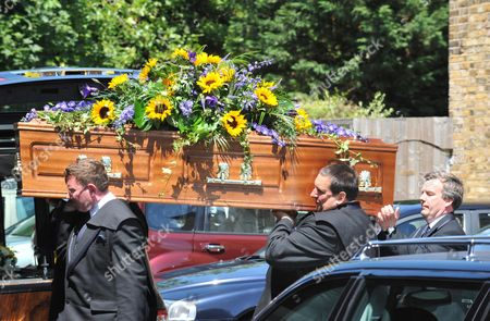 Funeral of Danny La Rue at the Church of the Transfiguration Chamberlayne Road Kensal Rise London the Coffin Arrives at the Church
