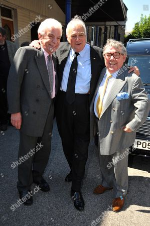 Funeral of Danny La Rue at the Church of the Transfiguration Chamberlayne Road Kensal Rise London Barry Cryer Roy Hudd & Ronnie Corbett