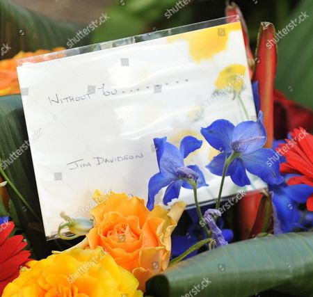 Funeral of Danny La Rue at the Church of the Transfiguration Chamberlayne Road Kensal Rise London Flowers From Jim Davidson
