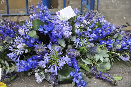 Funeral of Danny La Rue at the Church of the Transfiguration Chamberlayne Road Kensal Rise London Flowers From Barbra Windsor Anf Her Husband Scott