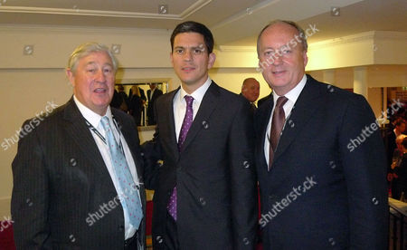 Labour Party Conference at Brighton West Sussex - Sunday Evening Fringe Meetings and Parties Geoffrey Robinson David Miliband and Shaun Woodward at the New Statesman Party at the Thistle Hotel
