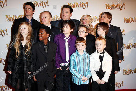 London Gala Premiere of 'Nativity!' at the Barbican Jason Watkins Marc Wootton Debbie Isitt and Martin Freeman with Some of the Children in the Film
