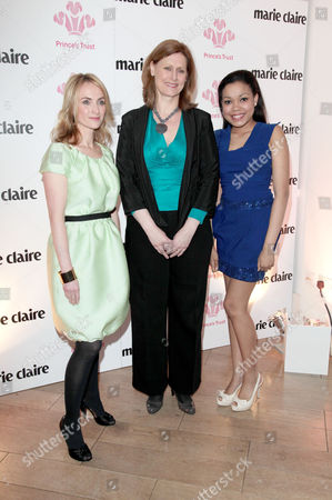 Marie Claire Inspire and Mentor Event in Association with the Prince's Trust at the Loft the Ivy Club Trish Halpin (editor of Marie Claire) with Sarah Brown and Dionne Bromfield