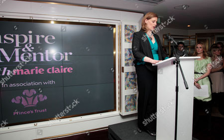 Marie Claire Inspire and Mentor Event in Association with the Prince's Trust at the Loft the Ivy Club Sarah Brown Makes Her Speech with Trish Halpin (editor of Marie Claire) in the Background