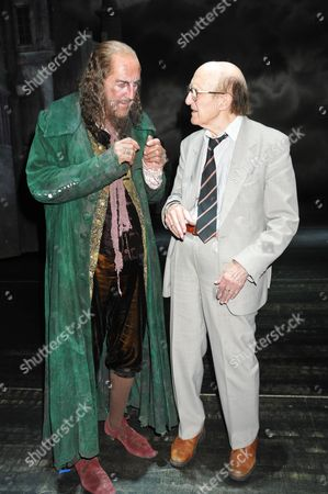 Oliver 50th Anniversary of the First Stage Performance at New Theatre (now the Noel Coward Theatre) On June 30 1960 Now at the Theatre Royal Drury Lane London the First Fagin Ron Moody with Members of the Current Cast Backstage After the Show Russ Abbot (fagin) Kerry Ellis (nancy) and Steven Hartley (bill Sikes)