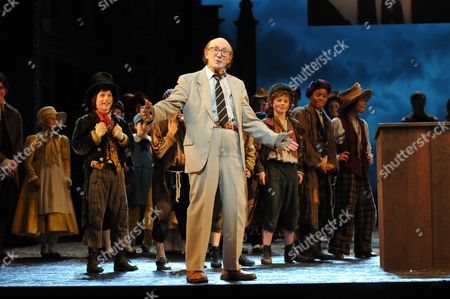Oliver 50th Anniversary of the First Stage Performance at New Theatre (now the Noel Coward Theatre) On June 30 1960 Now at the Theatre Royal Drury Lane London the First Fagin Ron Moody Makes A Speech Nad Performs A Song with the Cast Including Russ Abbot (the Current Fagin) and the Company and Jack Costello As Nipper