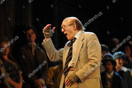 Stock Picture of Oliver 50th Anniversary of the First Stage Performance at New Theatre (now the Noel Coward Theatre) On June 30 1960 Now at the Theatre Royal Drury Lane London the First Fagin Ron Moody Makes A Speech Nad Performs A Song with the Cast Including Russ Abbot (the Current Fagin) and the Company and Jack Costello As Nipper