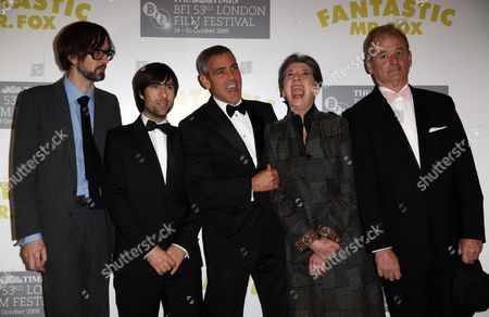 Opening Night of the London Film Festival with 'Fantastic Mr Fox' at the Odeon Leicester Square Jarvis Cocker Jason Schwartzman George Clooney Felicity Dahl and Bill Murray