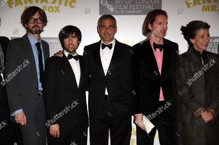 Opening Night of the London Film Festival with 'Fantastic Mr Fox' at the Odeon Leicester Square Jarvis Cocker Jason Schwartzman George Clooney Wes Anderson Felicity Dahl