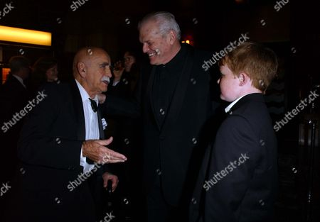 Opening Night Party For 'Death of A Salesman' at the Atlantic Bar and Grill Warren Mitchell with Brian Dennehy and His Son Cormac