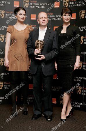 15 01 2009 Orange British Academy Film Award Nominations at the David Lean Room Bafta Hayley Atwell and Gemma Arterton with Head of Bafta David Parfitt
