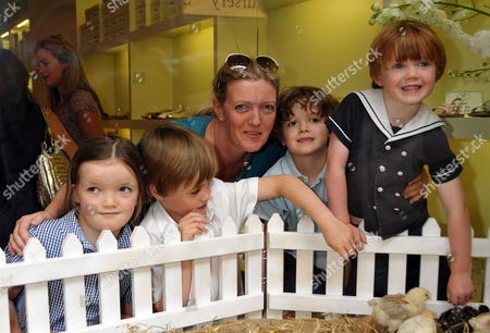 Papillon Shoes Childrens Enchanted Tea Party at Its New Store in Marylebone Lane London Annabel Heseltine with Four Children Mungo Isabella Rafferty and Monty