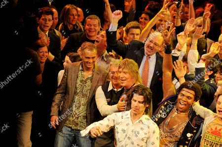 Stock Picture of Press Night Curtain Call For 'Hair' at the Gielgud Theatre Michael Le Poer Trench Cameron Mackintosh with One of the Original Writers James Rado and A D Coughlan